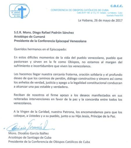 Carta de Obispos de Cuba a la Conferencia Episcopal Venezolana